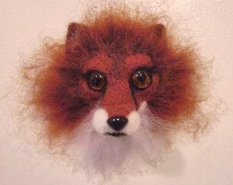 Needle felted magnet fox - needle felted animal - soft sculpture - gift -  home decor - fiber art - miniature - magnet - felting