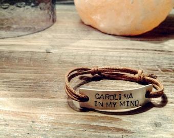 Carolina Crown Hand Stamped Adjustable Bracelet