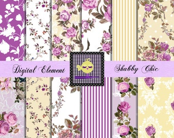 Digital Paper, Scrapbook Paper, Digital Shabby Paper, Vintage Scrapbook Purple Digital Paper, Shabby Rose Paper. No. P.81.DA