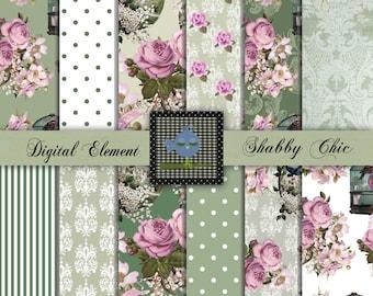 Digital Paper, Digital Scrapbook Paper, Lavender Rose Paper, Shabby Floral Digital Paper, Shabby Green and Lilac. No. P99.DA