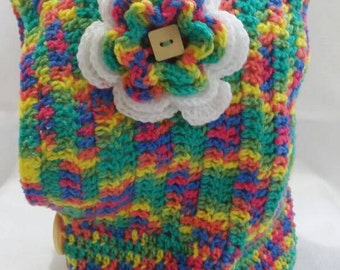 Rainbow hooded cowl for girl