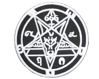 """Satanic Baphomet Devil 666 Embroidered Iron On Patch 2.9"""""""