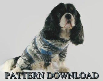 Dog sweater pattern Knit dog sweater Dog knit sweater Knitting pattern Dog sweater medium Cavalier PDF pattern