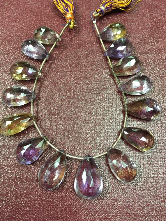 8 Inch Superb Finest Quality Ametrine Faceted Pear