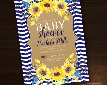 Watercolor Baby Shower Custom Invitation