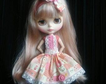Colorful,handmade dress, underskirt and headband for Blythe doll