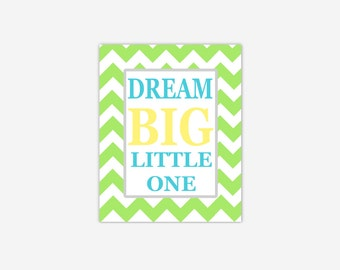 Baby Nursery Wall Art Yellow Green Turquoise Teal Aqua Dream Big Little One Canvas Prints Chevron Quotes New Baby Shower Gift Boy Girl Print