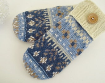 Upcycled felted wool sweater mittens polartec fleece lined ultrasuede palms blues/brown/cream ladies Large