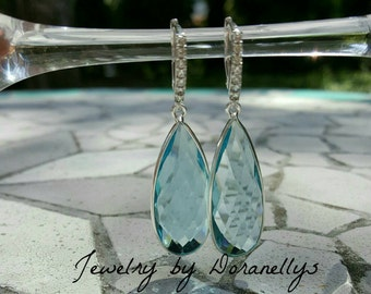 Sale! Earrings, Sky Blue Quartz and Sterling silver, faceted gemstone earrings, elegant