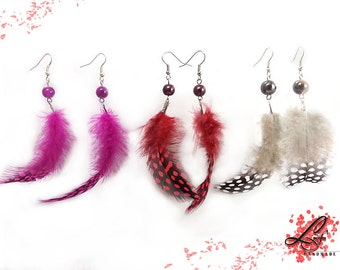 Red/ Pink/ Gray Guinea fowl Feather earrings decorated with beautiful beads and silver plated hook