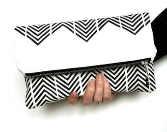 Clutch purse fold over dressy purse screen printed chevron monochrome zigzag black and white