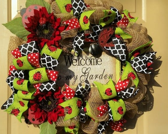 Spring Wreath, Summer Wreath, Ladybug Wreath, Ladybug Summer Wreath, Front Door Wreath, Burlap Wreath, Red and Black Lady Bug Wreath, Sale