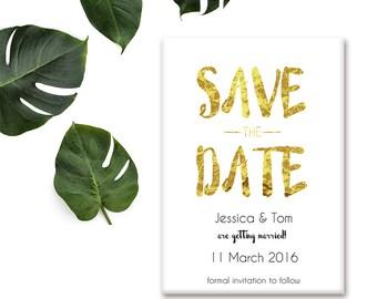 Save the Date Wedding Magnet - Gold Leaf