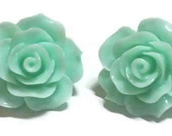 Large Green Rose Earrings, Green Flower Stud Earrings, Green Resin Flowers, Green Flower Post Earrings