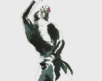 Flamenco dancer, drawing, ink