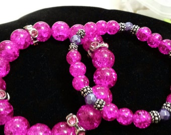 Set of 2 hot pink & purple glass beaded bracelets