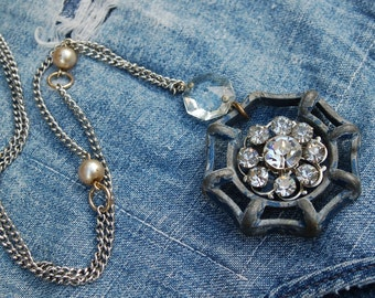 Vintage upcycled faucet handle and rhinestones necklace