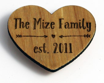 Personalized Wooden Heart Magnet - Our Family Established Date - Hearts and Arrows Magnet - Custom Wooden Valentines Day Magnet