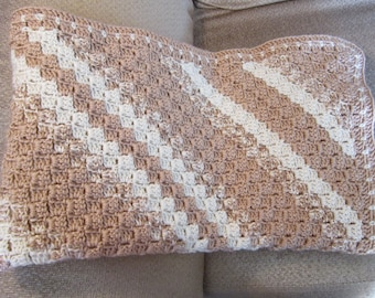 SHIPS FREE* Large Neutal Decorator Afghan, Large Crochet Afghan, Large Crochet decorator Throw, Soft Sofa Throw, Gift for Him, Gift for Her