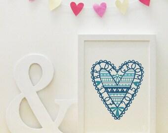 Blue wedding love heart print (personalisable/customisable)