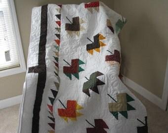 Handmade Queen Quilt Maple Leaf Pattern