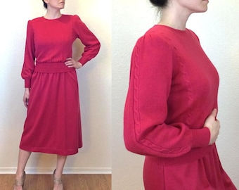 80s Pink Wool Dress - Secretary Dress - Sweater Dress - Norm Thompson Dress - Large