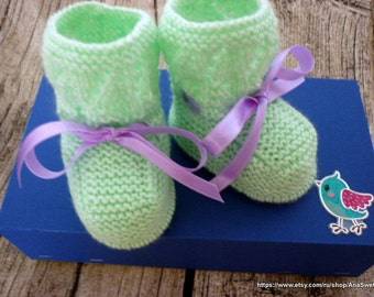 Knitted baby booties/ baby slippers/ baby shoes/ baby shower gift/ baby boot/ christening shoes,/knitted baby boots,baby bo