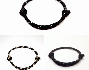 Reflective Bracelet - Black Reflective Bracelet - Paracord Bracelet - String Bracelet - Slip Knot Bracelet - Reflective Safety Bracelet