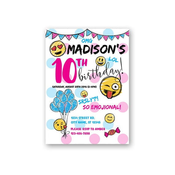 Emoji Birthday Emoji Party Invitations Custom Birthday