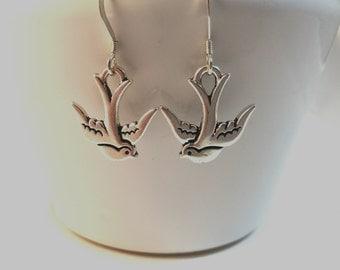 Swallow Earrings, Sterling Silver, Bird Earrings, Silver Earrings, Dangle Earrings, Gift for Her