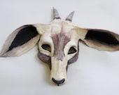 Goat Mask, paper mache, wearable, animal mask, farmyard animal, chinese zodiac