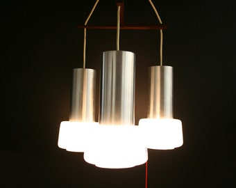 304-174 SALE! Danish Mid Century Modern Aluminum & Teak Ceiling Light Fixture