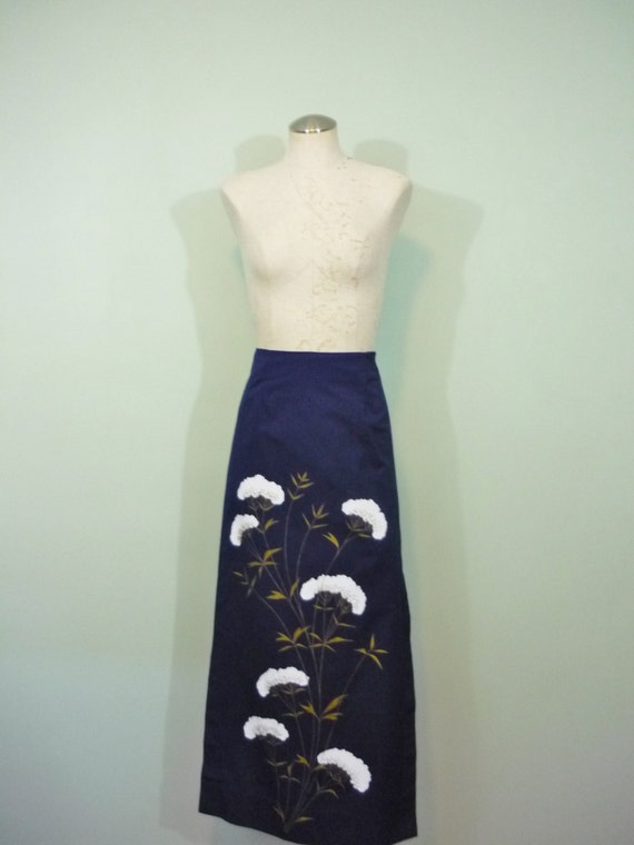 1960s-1970s Handpainted Wrap Column  Maxi Skirt / Navy Blue with White and Gold Painted Flowers / Modern Size Extra Small XS to Small S