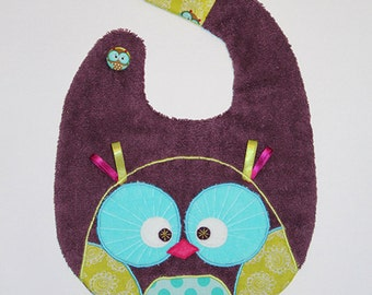 Owl bib plum color