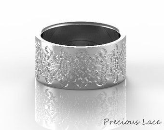 Wide Platinum Ring with Lace Texture, Anniversary Gift, Anniversary Ring,Wedding Ring, Wedding Band, Unique wedding band for woman