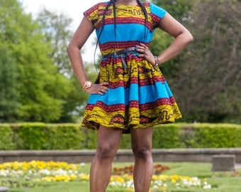 ON SALE, ankara dress, print dress, gathered dress, african print dress