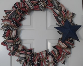 4th of July Wreath, Patriotic Wreath, Americana Wreath, Pillow Wreath, Cloth Wreath, Red White and Blue Wreath, Stars and Stripes Wreath
