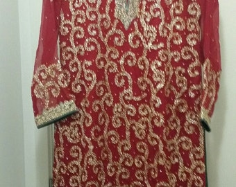 Tunic with handmade gold thread 'gota' work - Indian suit Hand-embroidered