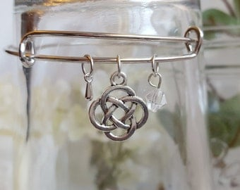 Celtic Knot Bangle Charm Bracelet with Crystal Accent