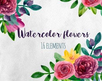 Watercolor flowers clip art Modern flower arrangements Watercolor floral clipart Abstract flowers Hand drawn botanical Digital download