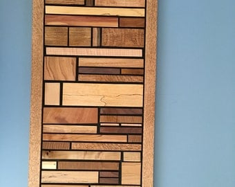 Handmade Wood Wall Art made from upcycled hardwoods,  Different sizes available