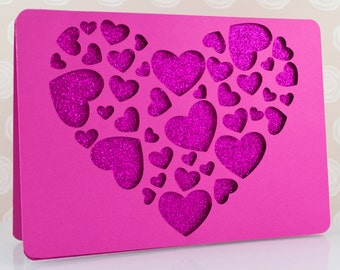 Pink Hearts in Heart Greeting Card, Love, Valentine, Anniversary, Fuchsia Glitter Romantic Luxury Handmade Card, Him, Her, Girlfriend, Wife