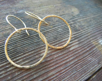 Gold Circle Hoop Earrings, 14k Gold Fill