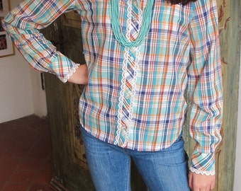 Ladies Western Shirt, Plaid, Lace