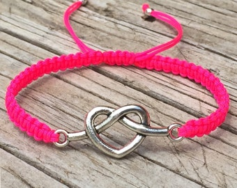 Heart Knot Bracelet, Heart Anklet, Adjustable Cord Macrame Friendship Bracelet, Heart Jewelry, Macrame Jewelry, Knotted Heart, Gift for Her