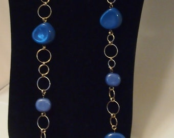 ON SALE-Long sterling and multi dimensional blue link necklace-WAS 75
