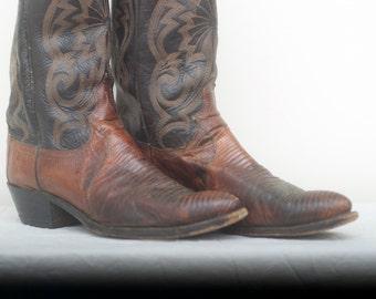Vintage Dan Post Lizard Skin Cowboy Boots - Men's 9