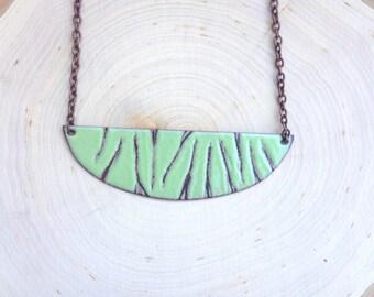Enamel Lichen Green Necklace with Line Texture