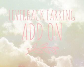 14k Gold Leverback Earring Add On