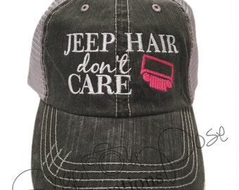 Jeep Hair Don't Care Trucker Hat - Hot Pink Jeep Grill (Choose Your Own Jeep Grill Color)